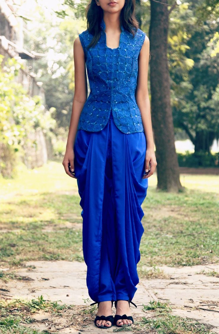 Cobalt blue Sequined jacket with draped dhoti pants