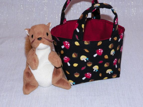 Forest Fun Teeny Tote Bag with Plush Squirrel Mushrooms on