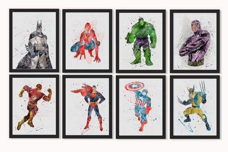 Watercolour Superhero Wall Art-print Various Sizes A5,  10  x 8 , A4, A3 Nursery