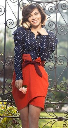 Red skirt blue polka dot shirt