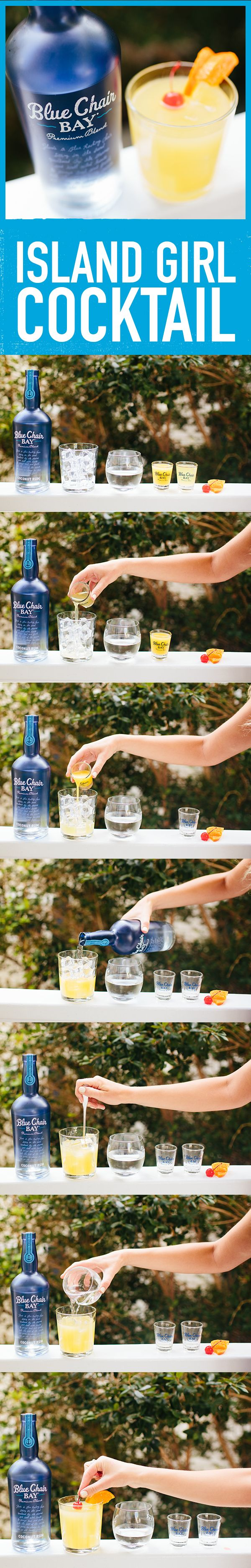ISLAND GIRL COCKTAIL // 1.5 oz. Blue Chair Bay Coconut Rum + 1 oz. orange juice + 1 oz. pineapple juice + 2 oz. lemon-lime soda // Build ingredients directly into tall glass with ice. Stir and flirt. Want produce?: Add an orange slice and cherry.