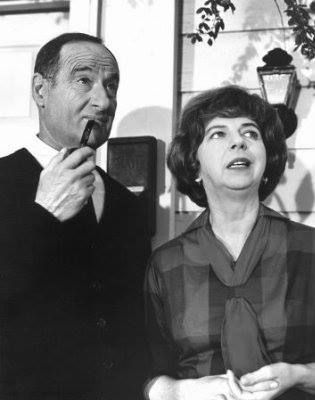 "George Tobias and Alice Pearce as Abner and Gladys Kravitz on ""Bewitched""."