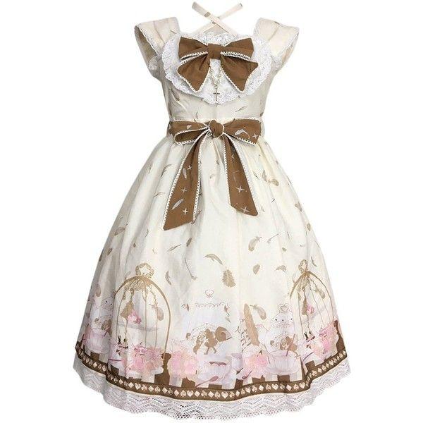 Partiss Women's Sweet Classic Printing Bowknot Sleeveless Lolita Dress ($36) ❤ liked on Polyvore featuring dresses, no sleeve dress, sleeveless dress, white day dress, white color dress and white dress