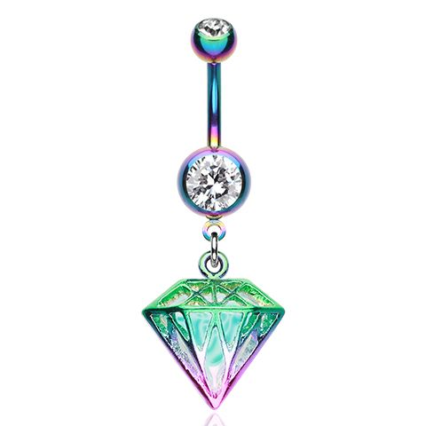 Rainbow Prism Belly Dangle - Rainbow Colourline Dangly Belly Button Ring. Find it at www.tummytoys.com.au