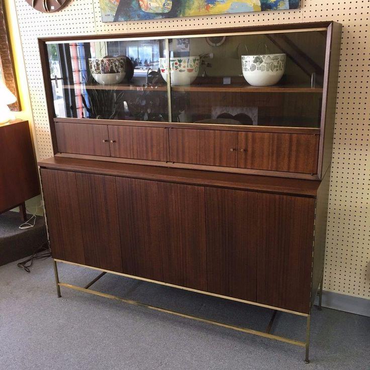 paul mccobb for calvin mahogany 2piece credenza display cabinet c1950s