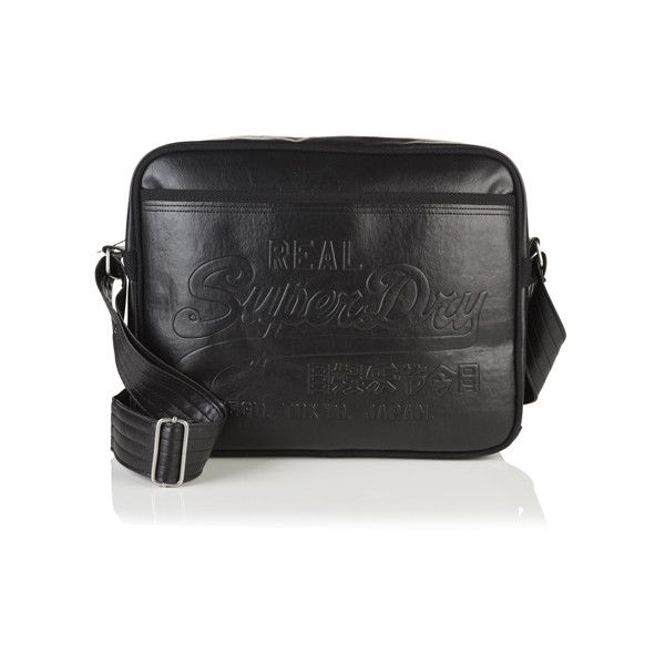 Superdry Hot Stamp Alumni Bag (£40) ❤ liked on Polyvore featuring bags, handbags, shoulder bags, black, zip purse, superdry, zipper handbag, quilted purses and zip shoulder bag