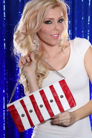 RED WHITE FAUX LEATHER STRAP STUDDED FLAP OVER CLUTCH MINI HANDBAG PUR - viXXen Clothing