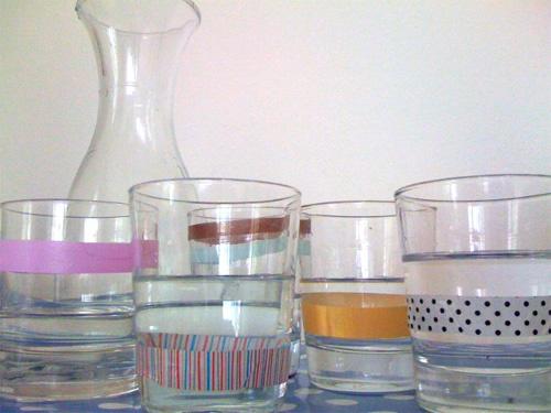 vasos con celo decorativo