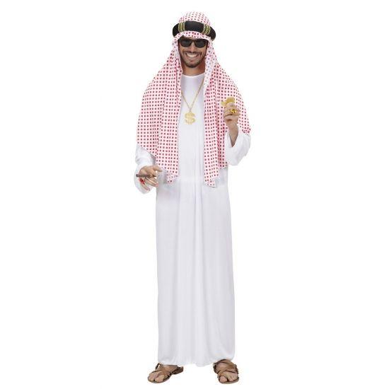 Arabische sjeik kostuum voor heren. Dit luxe sjeik kostuum bestaat uit een lange witte jurk en een rood-wit geblokte sjaal met band. Het sjeik kostuum word geleverd exclusief accessoires. Materiaal: polyester. Carnavalskleding 2015 #carnaval