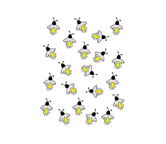 Fireflies - Lightning bugs  - Digital Clipart - PNG - JPG - Hand Drawn - Limited Commercial - Instant Download