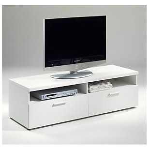 Rack TV Napoli 2 cajones 140X49X42cm blanco-Homy.cl