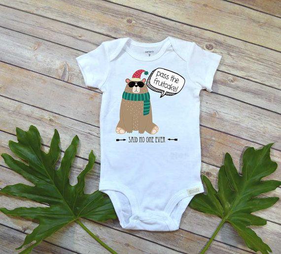 Funny Christmas Onesie®, Pass the Fruitcake, Cute Christmas Onesie,Funny Christmas shirt, Baby's First Christmas onesie, Funny Christmas set