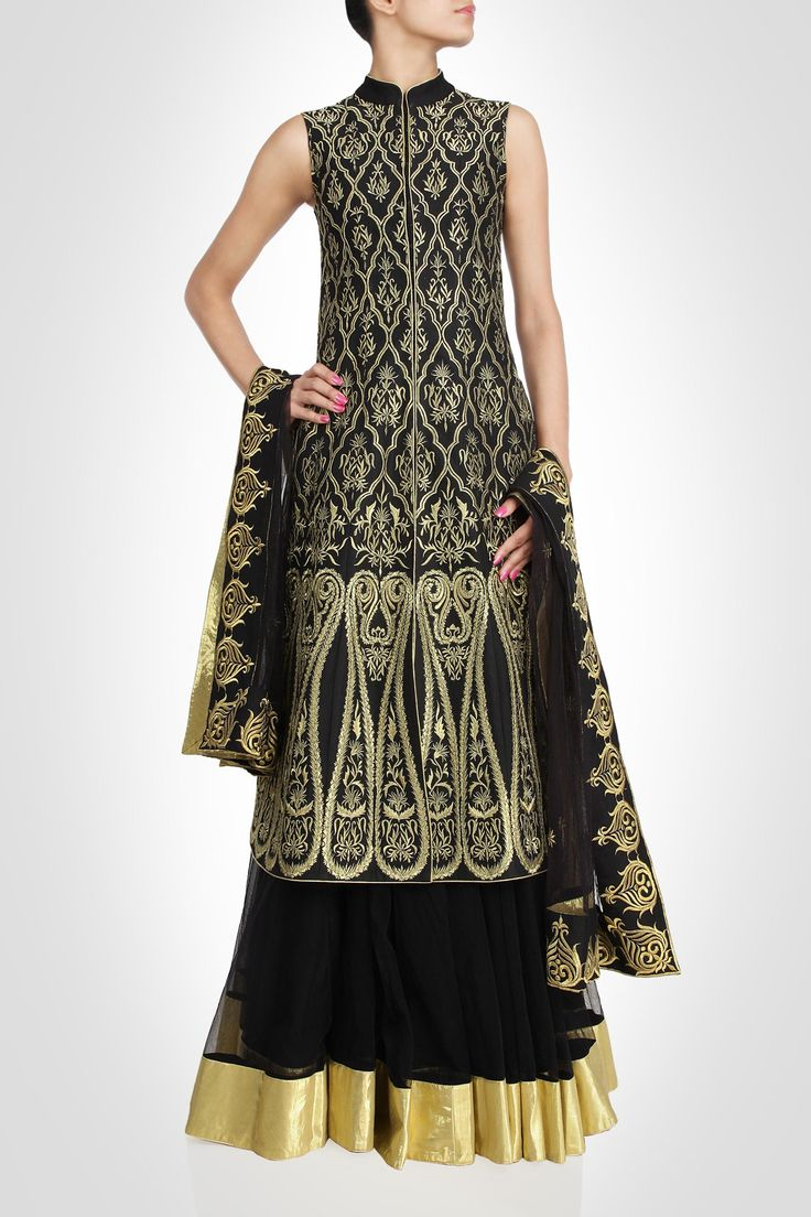 Black color long jacket lehenga available online