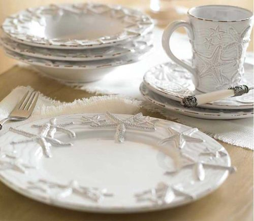 Our starfish dinnerware was created in a distressed style for a more casual beach cottage placesetting. & 69 best Dinnerware \u0026 Accessories images on Pinterest | Beach houses ...