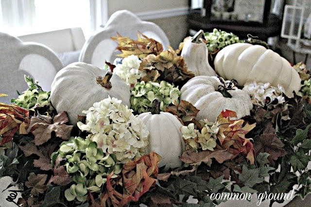 Dried hydrangea and white pumpkins