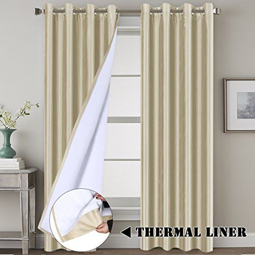 Blackout Living Room Curtains Premium Luxury and Durable Faux Silk Lined Curtain Panels Thermal Insulated Window Drapes, Extra Long Size 52x108 - Inch / Nickel Grommet, Beige #Blackout #Living #Room #Curtains #Premium #Luxury #Durable #Faux #Silk #Lined #Curtain #Panels #Thermal #Insulated #Window #Drapes, #Extra #Long #Size #Inch #Nickel #Grommet, #Beige