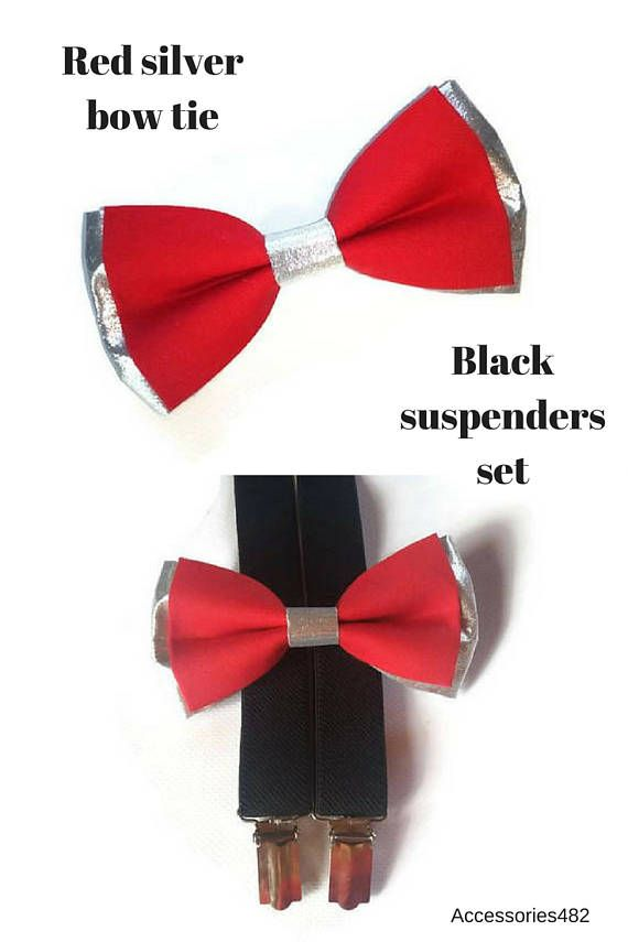 red and silver bow tie BLACK suspenders men set for wededing