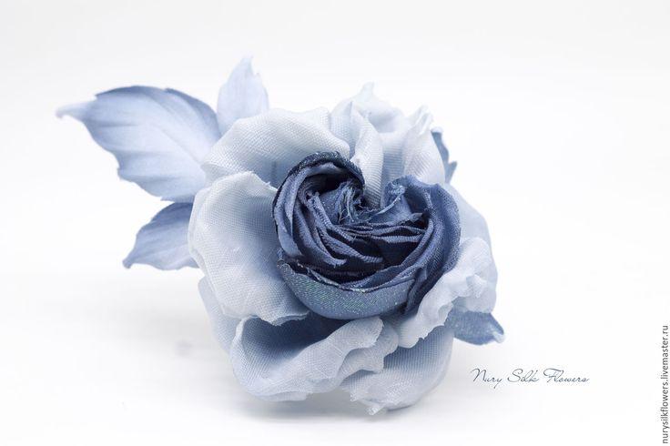 """Купить Роза """"Холодность и нежность кобальта"""". Брошь. - тёмно-синий, роза, джинса, кобальт, деним"""