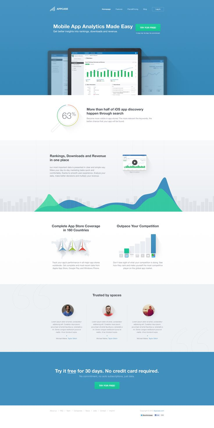 Appcase landing pages Homepage