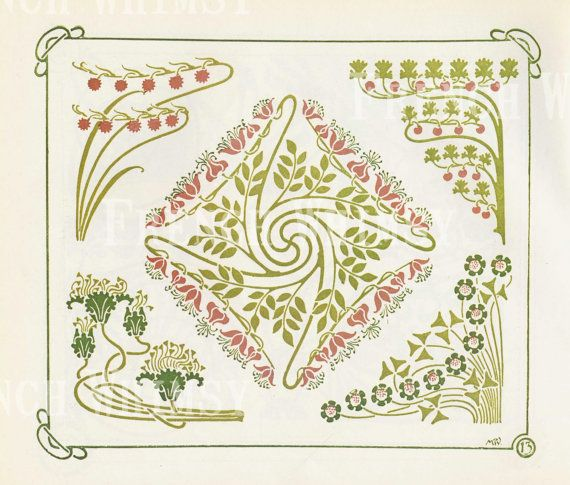 Elementi di disegno di Art Deco di angoli di bel fiore, antico libro piatto, ad alta risoluzione Download istantaneo, CU OK