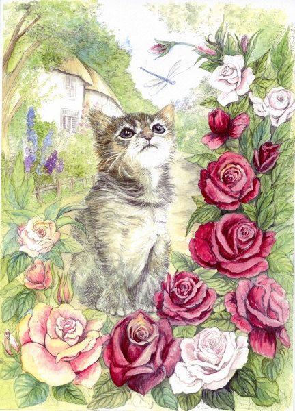 Craft Fabric Kitten print by MorgansFaeWorld on Etsy, £6.99