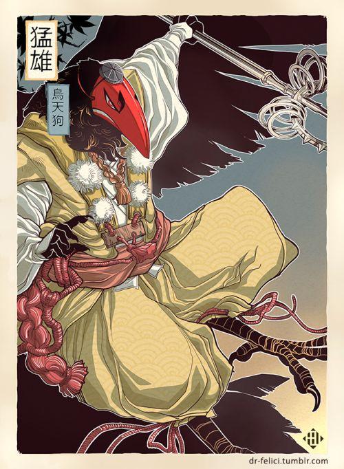 One of five motives for a mythology themed poster series. Started with my karasu tengu Takeo. Next stop: Greek mythology!
