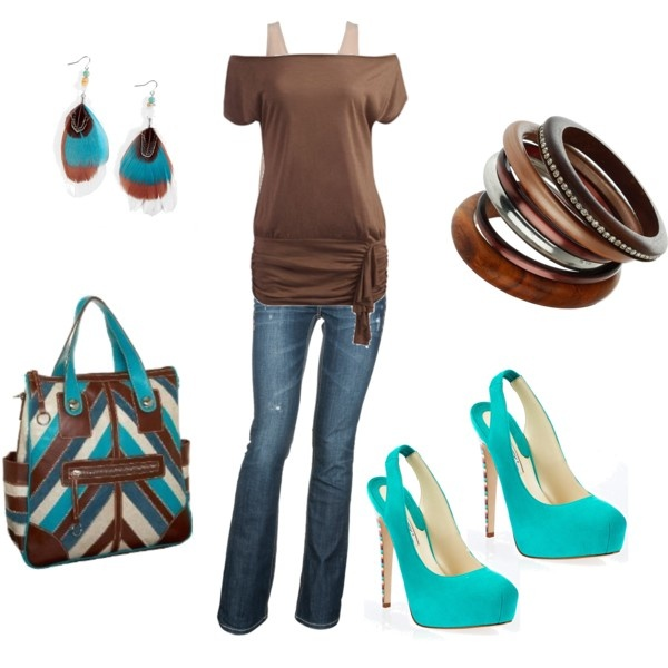 turquoise and browns, created by shauna-rogers.polyvore.com