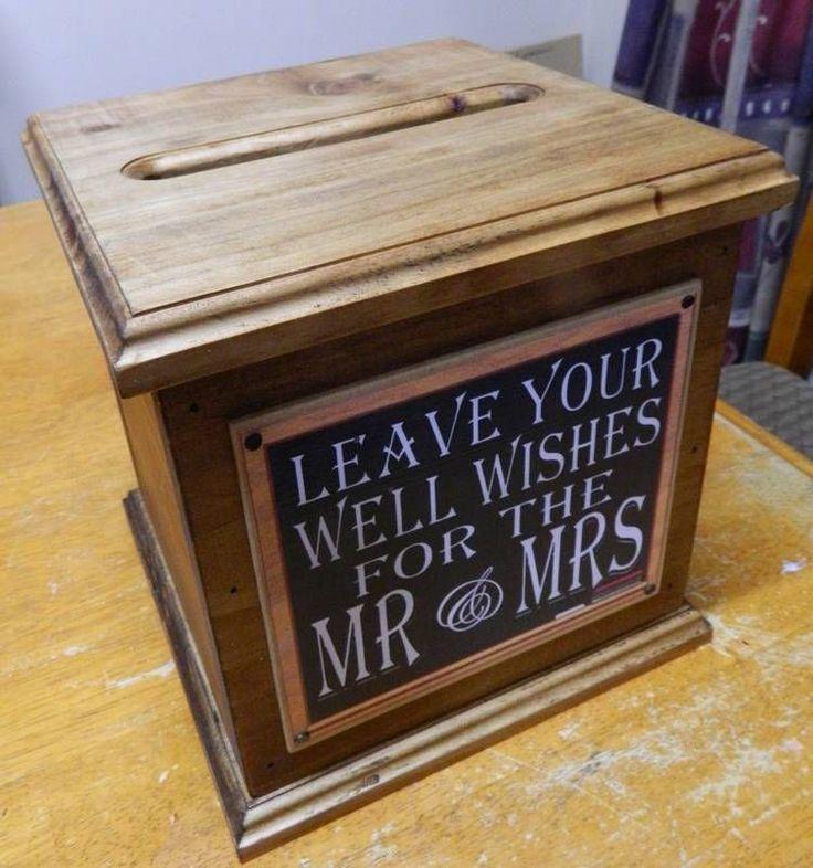 wood wedding card holders%0A Wooden Wishing Well  Wedding Card Box  Assort Sayings Handmade  Engagement  New