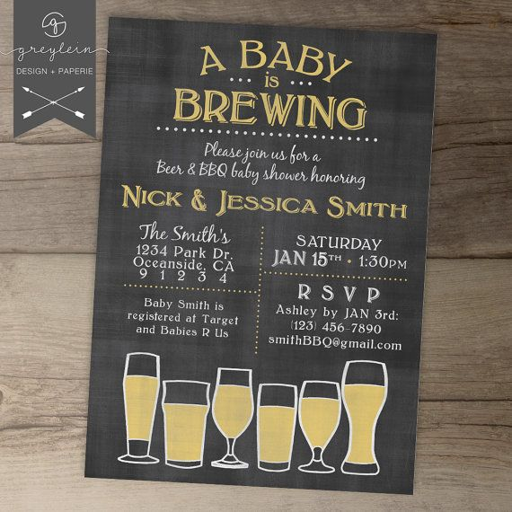 Baby is Brewing BaByQ Baby Shower Invitation / guy friendly / co-ed BBQ baby shower DIY Printable Invitation / chalkboard on Etsy, $14.99