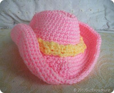 Pink Baby Cowboy Hat  http://www.suzannebroadhurst.com/baby-cowboy-hat-pattern-adaptation/