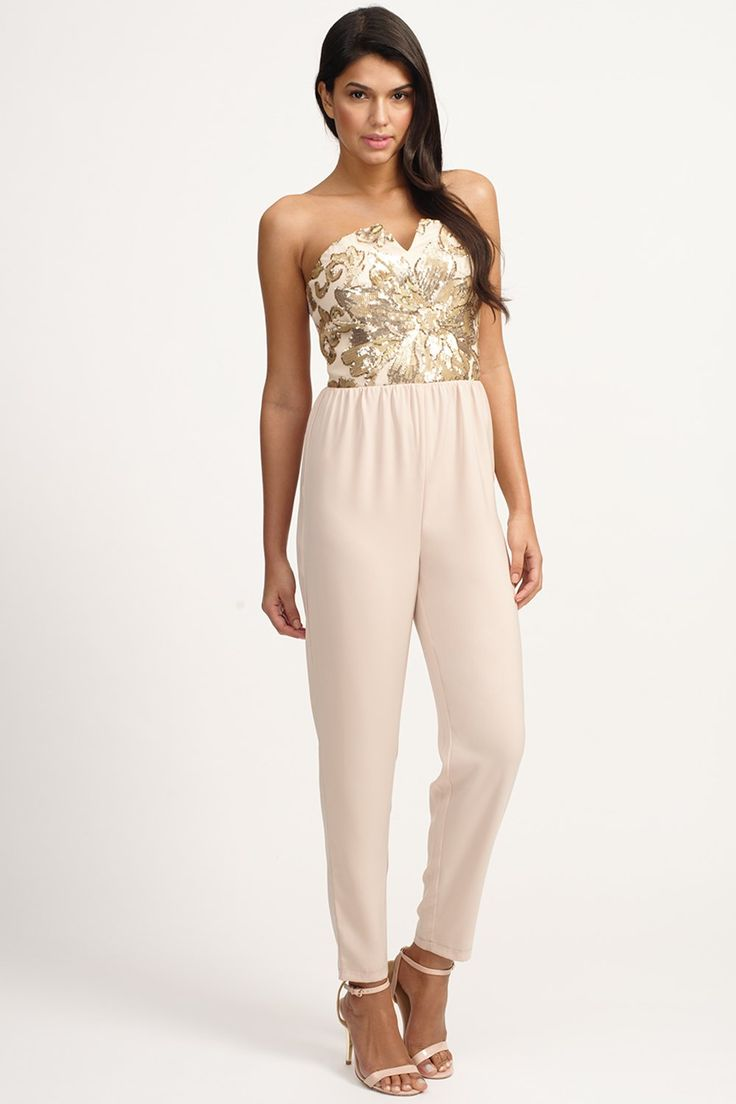 Cream Heavily Embellished Bandeau Jumpsuit