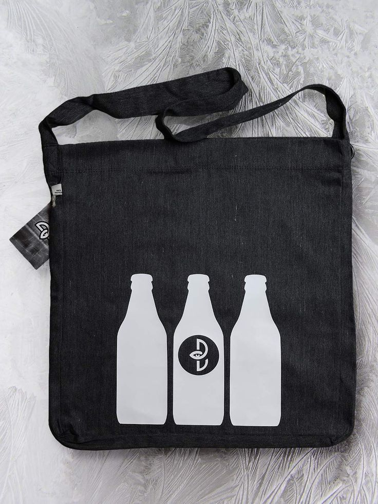 Bottles sling tote bag by Paranoia Borealis.