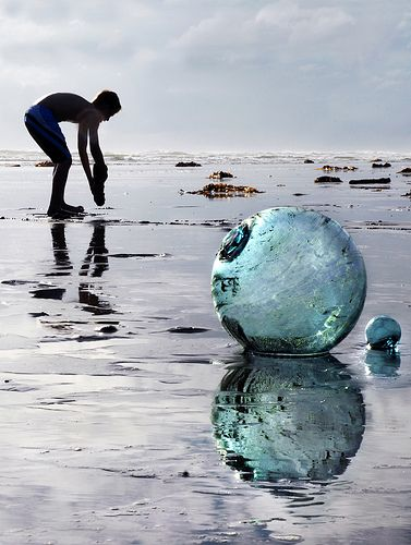 old vintage glass fishing floats and beautiful coastal colours by the sea x