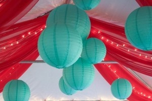 coral and aqua reception ceiling decor. Engagement dinner?? Haha. @Stacey Heaton