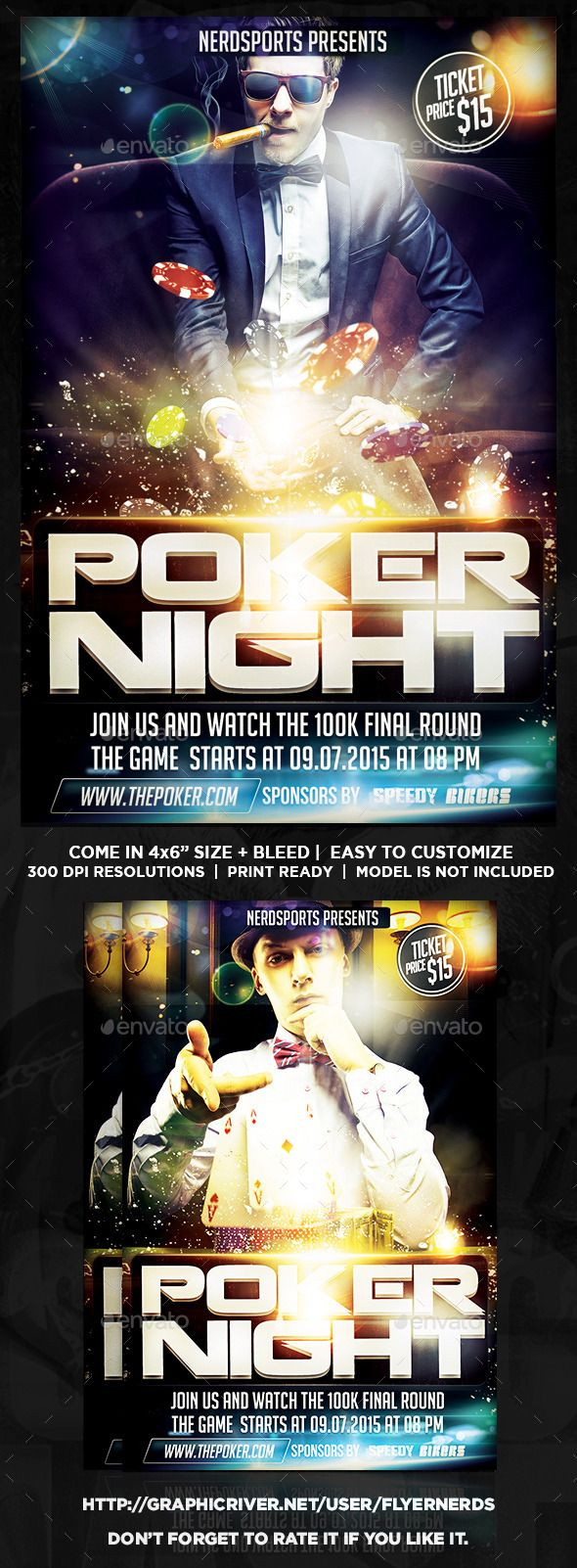Poker Night Sports Flyer by flyernerds Poker Night Sports Flyer Description :46 with bleedPrint Ready ( CMYK, 300DPI ) Easy to edit and fully customizable Model Image do