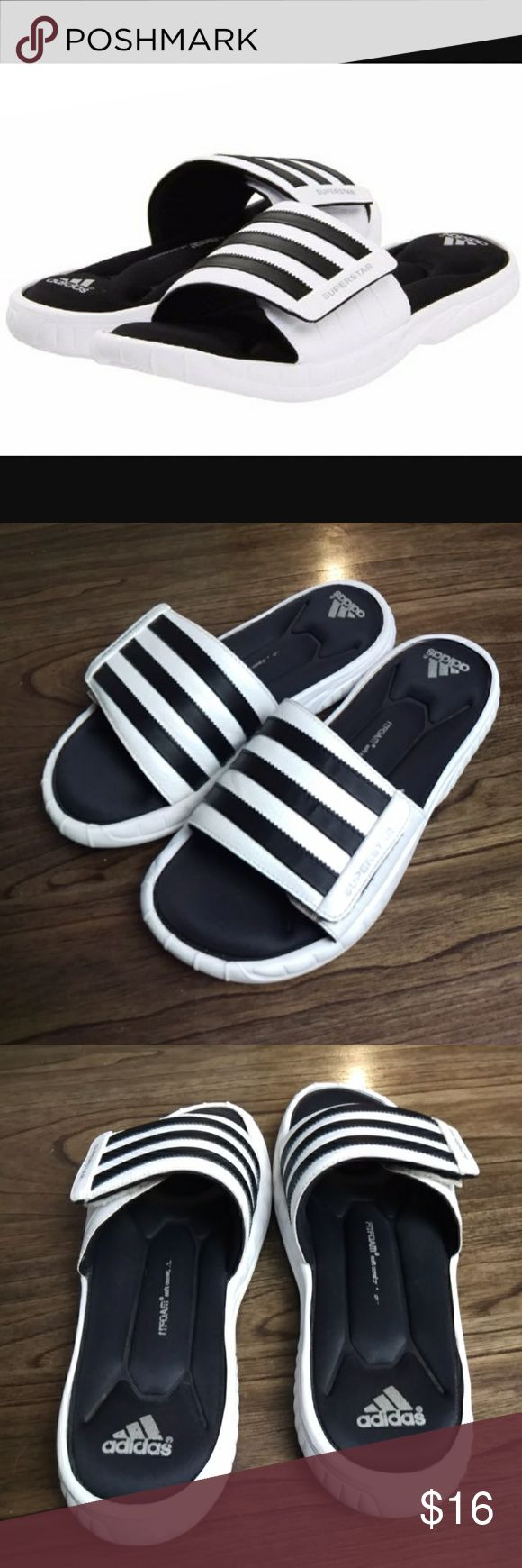 Adidas Superstar FitFoam Men's Slip-on Sandals Pre-owned in good condition. Size 8 Sporting the classic adidas three stripes, our slide sandals will keep you fabulously cool when you're out and about enjoying the warm weather. adidas Shoes Loafers & Slip-Ons