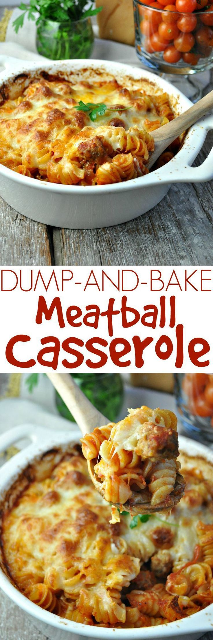 You don't even have to boil the pasta with this easy Dump-and-Bake Meatball Casserole!  Be sure to use a 9 by 13 pan and cover tightly #pastafoodrecipes