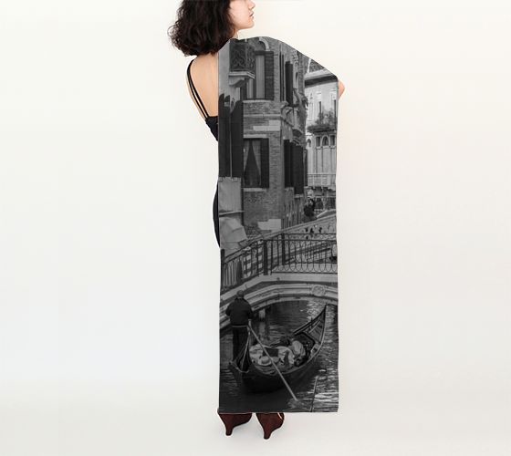 Venice Italy Black & White Long Silk Scarf preview