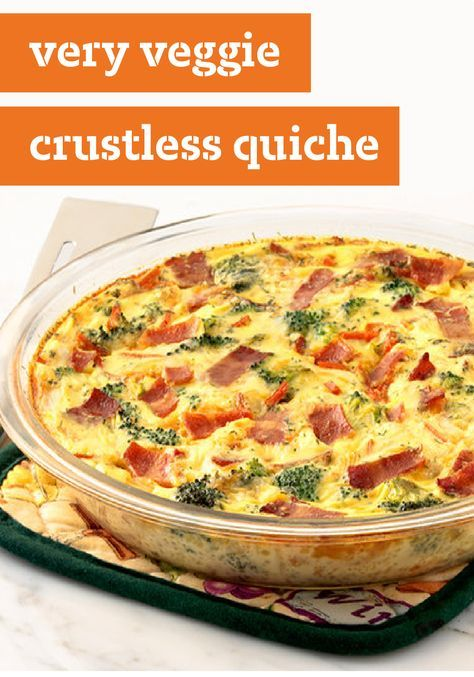 Very Veggie Crustless Quiche – Our savory quiche recipe is extra flavorful thanks to the addition of chopped onions, turkey bacon, and a splash of soy sauce. Brunch guests won't know what hit them!