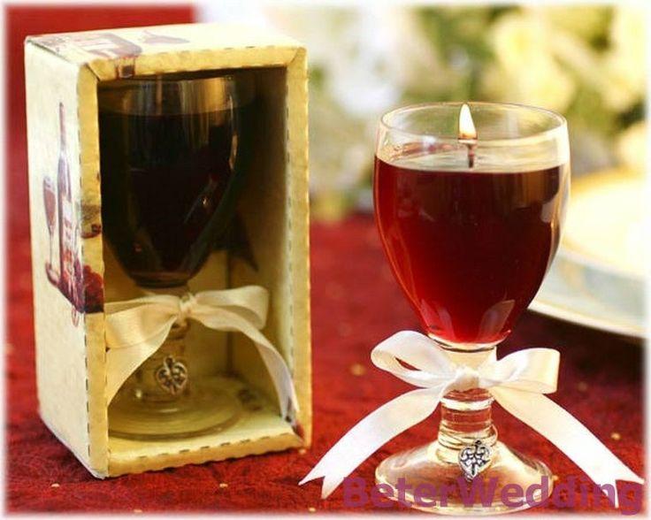 Wedding favor Merlot Wine Glass Gel Candle LZ041