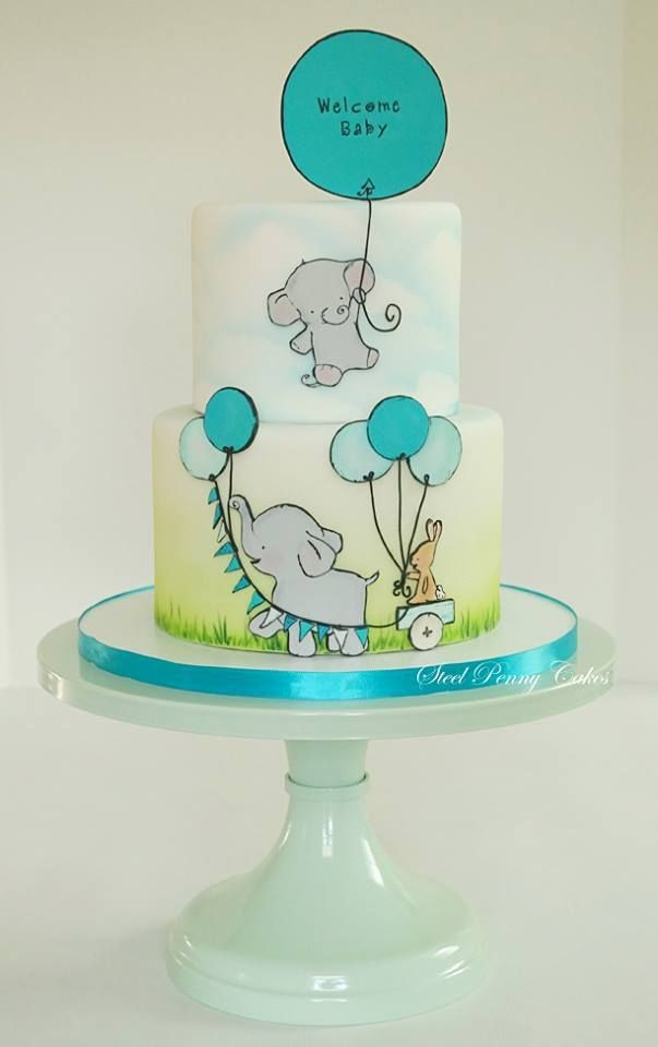 This is the cutest baby shower cake I have ever seen! Elephants and balloons!