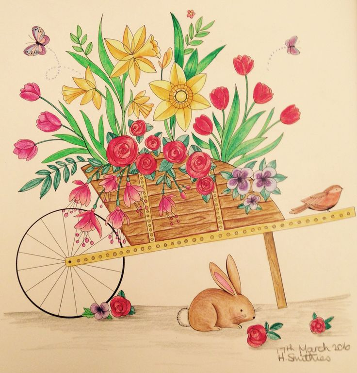 Spring Barrow From Joyous Blooms To Color By Eleri Fowler In Polychromos Pencils