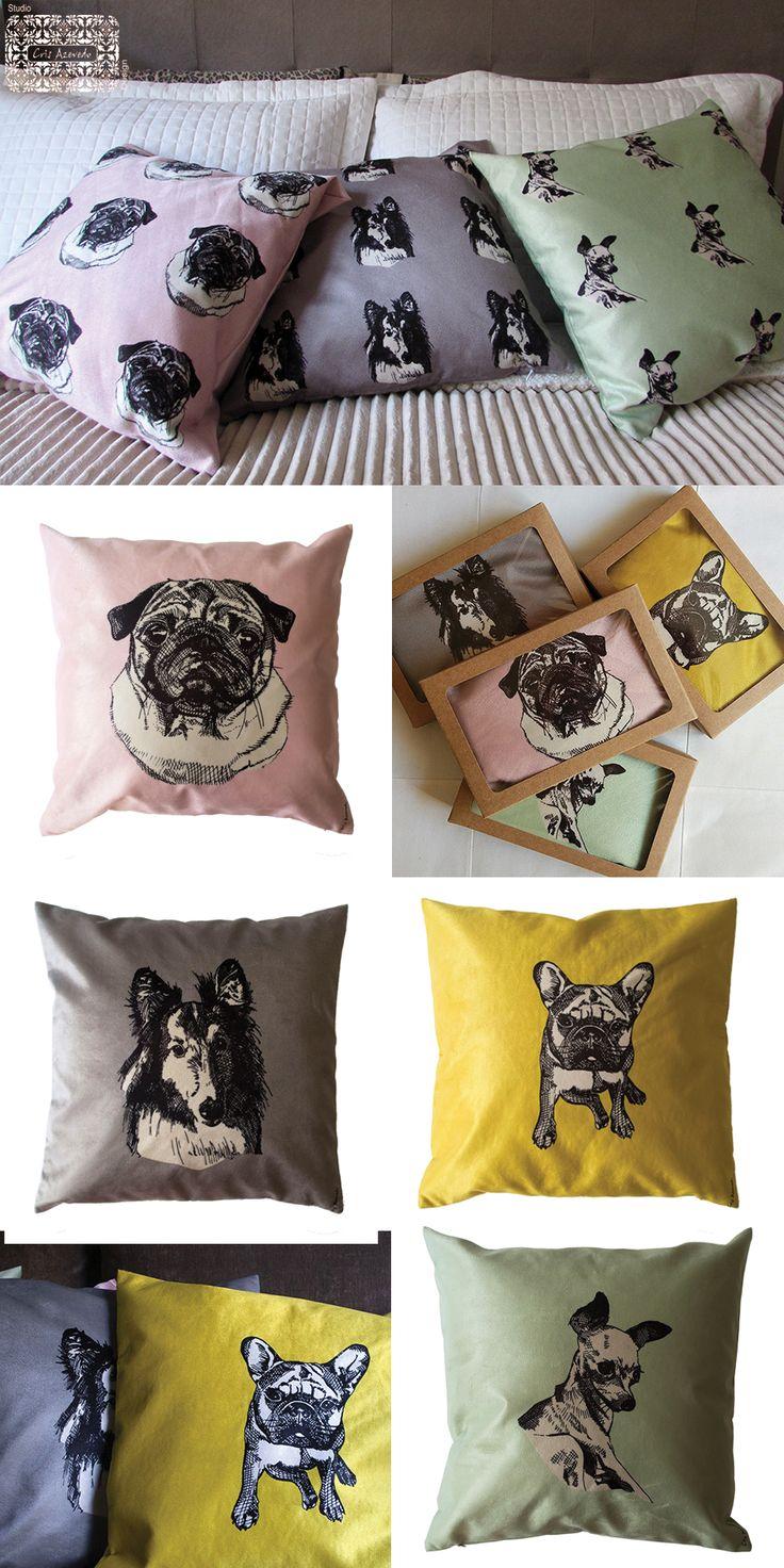 Almofadas coloridas e de veludo da Coleção Pet Lovers- dogs, com 45 cms e nas cores blush, grafite, menta e açafrão. Pug, Pastor de Shetland, Bulgogue Francês, Pinscher entre outros. Já escolheu a sua?