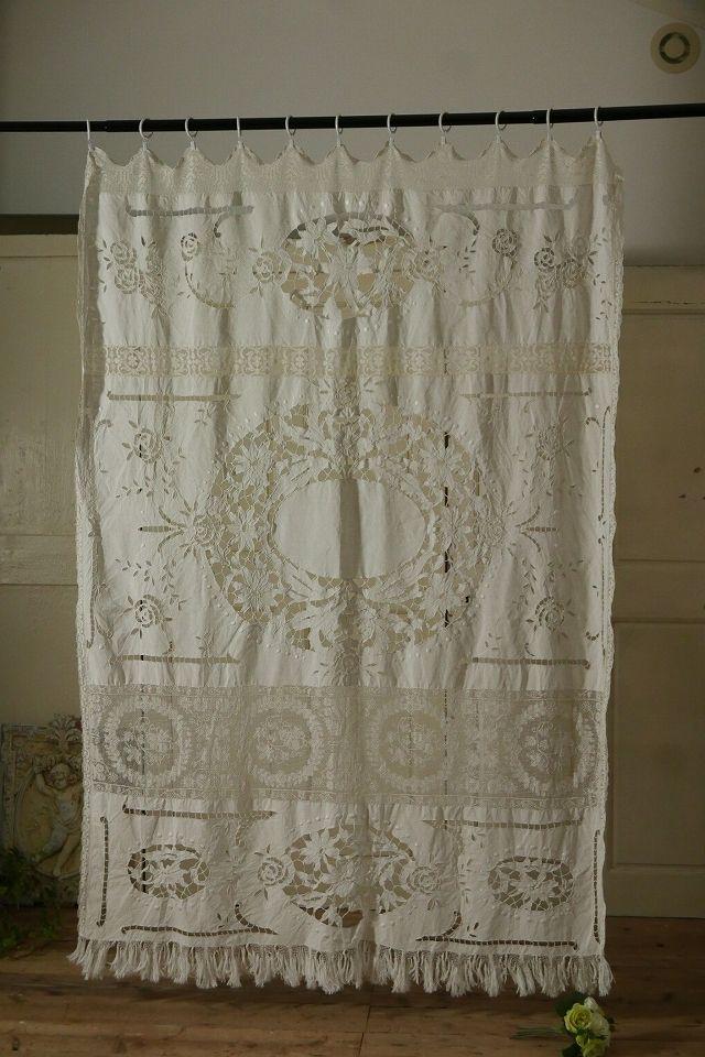 アンティーク マルチレースカーテン(花園) French Vintage Lace Curtain