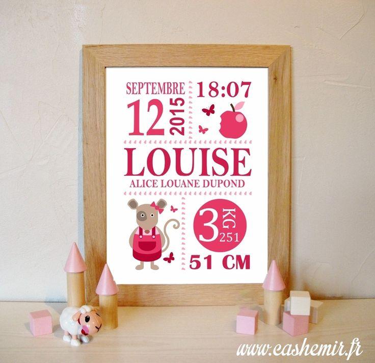 Cadeau naissance, stats de naissance, décoration chambre bébé fille - Fichier Imprimable - n°18 souris : Chambre d'enfant, de bébé par cashemir