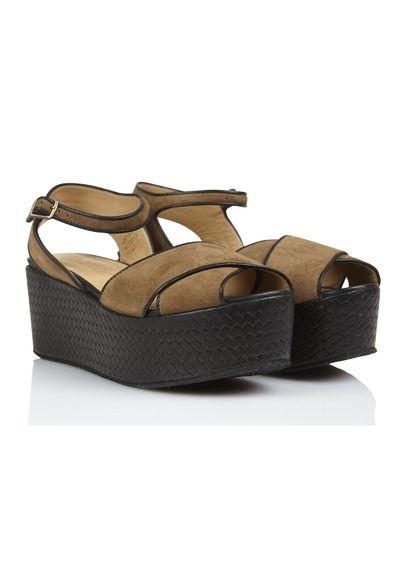 Sandales en daim compensées Beige by COTELAC