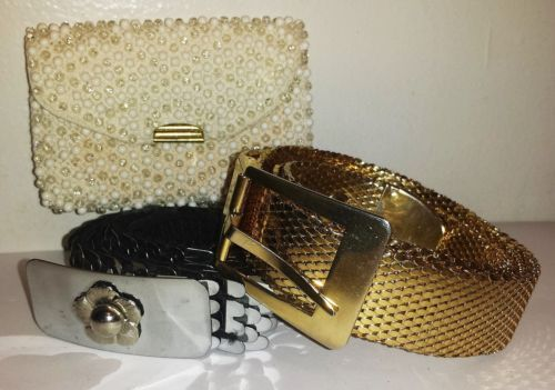 Lot vintage metal belts Silver Gold tone Fish scale plus beaded coin wallet