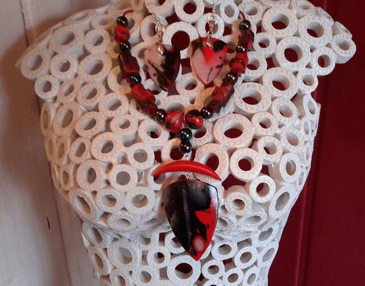 Parure en argile polymère collier + boucles d'oreilles : Parure par ndm-creation