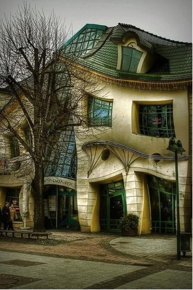 The Crooked House (Sopot, Poland) -- In Sopot, Poland, stands one of the strangest buildings in the world. The Crooked House was built in 2004 and inspired by the paintings and drawings of Jan Marcin Szancer, a Polish artist and illustrator of children's books, and Per Dahlberg, a Swedish painter...Didn't get to see it when I was in Poland! </3