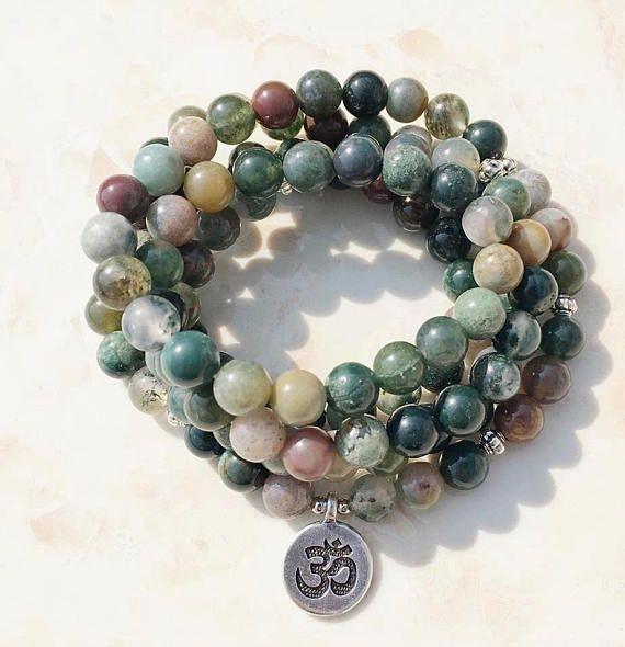 Moss Agate 108 Mala Wrap Bracelet or Necklace brass OM charm